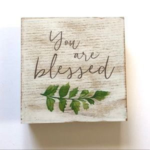 """""""You Are Blessed"""" Quote Plaque Wood Square Sign"""